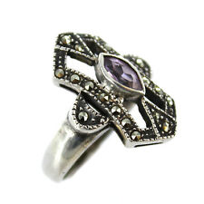 Marquise Faceted Amethyst & Marcasite Antiqued Sterling Silver Ring Size 6.5