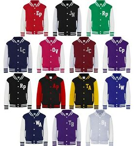 Personalised Initials Varsity Jacket XS-2XL Printed Baseball College Customised