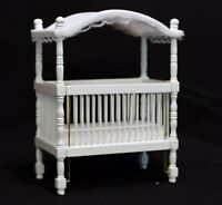 1:12 Scale Drop Sided White Painted Wooden Cot With A Canopy Tumdee Dolls House