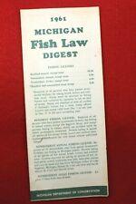 Vintage 1961 Michigan Fish Law Digest- Michigan Dept. of Conservation