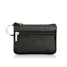 Black Leather Small Wallet Mini Coin Purse ID Card Holder Zip Pouch Pocket Bag