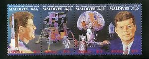 Maldives Complete MNH Strip of 4 #1309 JFK Space Achievements Stamps