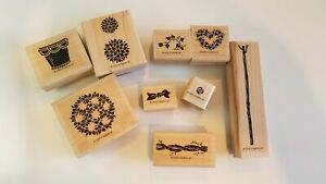Stampin Up Topiary Two Step Set of 9 Rubber Stamps Retired EUC FREE SHIPPING!