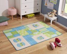 Diseño Alfombra infantil ALFOMBRA DORMITORIO INFANTIL búho azul verde 100x140cm