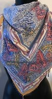 Anokhi 45 x 45 Scarf Wrap Multi-Color Butterflies Square Beaded Fringed Corners