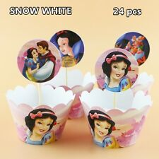 24 PCS SNOW WHITE CUPCAKE WRAPPERS & TOPPERS PARTY SUPPLIES BIRTHDAY