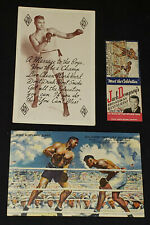 1940-1950's - JACK DEMPSEY BOXING CHAMPION - POSTCARDS (2) + MATCHBOOK COVER (1)