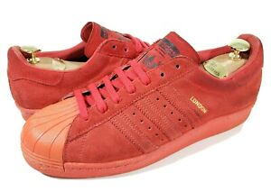 RARE🔥Adidas Superstar 80's City Series London October Red Suede Trainers sz 10