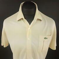 Lacoste Mens Vintage Shirt SMALL Short Sleeve Beige Regular Fit No Pattern