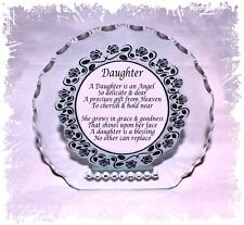 My Daughter my Angel poem Cut Glass Plaque  Present Limited Edition  #1