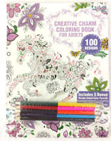 Adult Coloring Book Color Pencils 5 Double Sided 100 Designs Stress Relief Gift