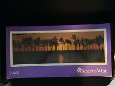 Vtg America West Airlines Small Hawaii Hawaiian Sunset Palm Tree Travel Poster