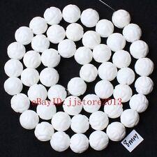 "8mm Natural White Shell MOP Lotus Round Shape Gemstone Loose Beads Strand 15"""