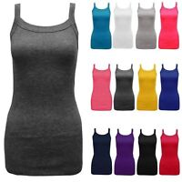 New Women Ladies Rib Vest Tops Plain Colors Camisole Stretch Stroppy Sizes 8-14