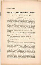 Tuberculosis, Consumption, Pulmonary Rehab, Lung Diseases, Public Health 1920s