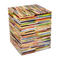 Design Beistelltisch Hocker Holz Mischholz Bunt Stuhl Sitzhocker Kinder Block