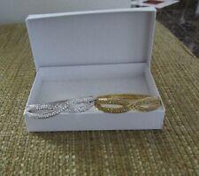 Crystal/Rhinestone Bangle Bracelets Gold/Silver Tone Pre-Owned Set of 2 Fashion