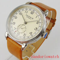 42mm parnis automatic men watch date indicator stainless steel case leather band