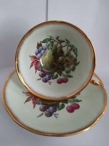 Royal Grafton Fruit Teacup And Saucer Light Green