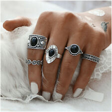 5pcs  Vintage Antique silver  Ring Sets Natural Black Stone Fashion Finger Rings