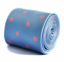 Frederick Thomas light baby blue and pink polka spot tie RRP £19.99 FT223