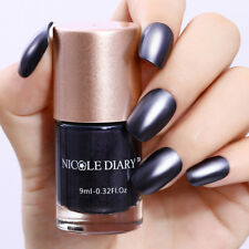 9ml Metallic Nail Polish Mirror Effect Black Shiny Varnish Tools NICOLE DIARY