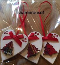 3 X Handmade Tartan Christmas Decorations Shabby Chic Heart Tree Bows Red