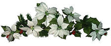 "Silver Poinsettia 35"" Swag Garland Christmas Decor Artificial Flower Home Office"