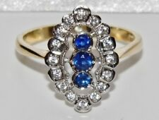 9ct Gold Ceylon Sapphire & Diamond Ring - size P - Gift Boxed
