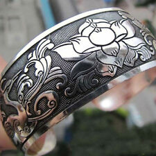 Women Vintage Ethnic Open Jewelry Tibetan Silver Bangle Wide Cuff Bracelet Conve