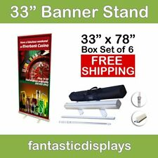 """33"""" Retractable Roll Up Banner Stands (Box of 6) Hardware Only Wholesale Lot"""