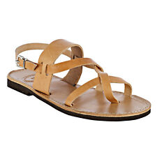 ANCIENT GREEK Genuine Leather Sandals Slingback Style Flat Handmade Brown Color