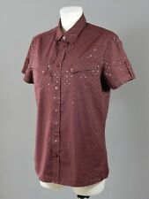 All Saints Journal men's 100 %cotton burgundy spotted short sleeved shirt size M