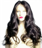 Human Hair Full Lace Wig Indian Remi Remy Off Black 1B Wavy Curly Silky Soft