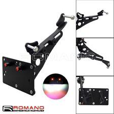 Side Mount Black Number Plate Bracket Holder LED Light For Harley XL883 XL1200