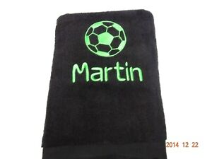 Personalised Bath Towel - football  - diff colours match team Embroidered Gift