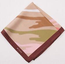 New $215 KITON NAPOLI Tan-Green-Pink Abstract Print Silk Pocket Square