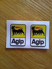 Agip Motorbike Motorcycle Vinyl Fairing Laminated Stickers Decals x2 41mm x 29mm