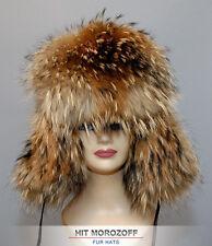 BIG Chapka Ushanka RACCOON FUR Hat Pelzmütze Fellmütze Waschbär Pelz Mütze