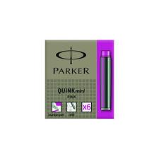 Parker Quink Mini Ink Cartridges - Pink 6 Pack S0767260