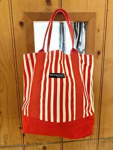 Marimekko Red White Stripe Small Mini Canvas Tote Shopping Bag New