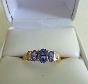 1.5 ct Natural Oval AA Tanzanite&Diamond 10K Trinity Solid Yellow Gold Ring Sz 7