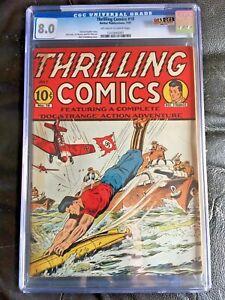 THRILLING COMICS #18 CGC VF 8.0; OW-W; rare issue; Schomburg cover!