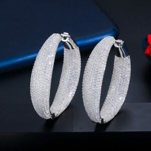 Micro Pave CZ Crystal Round Big Statement Hoop Earrings Silver Xmas Gift For Her