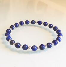 Lapis Lazuli & Sterling Silver Beaded Stretch Bracelet Stackable