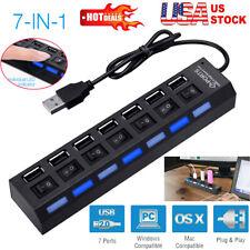 US 7 Port USB 2.0 HUB LED Powered High Speed Splitter Extender Cable Black