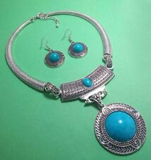 "Turquoise 925 Sterling Silver Overlay Necklace & Earrings Set Jewelry 20 ""Inch"
