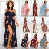 Boho Womens Holiday Off Shoulder  Maxi Ladies Beach Floral Party Dress Plus Size