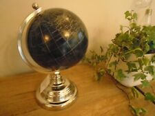 Black Chrome World Globe Metal Stand Swivel Rotating Atlas Home Office Decor Map