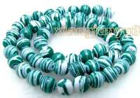 """6mm Green Peacock Zebra Stripe Round Agate Beads for Jewelry Making Strands 15"""""""